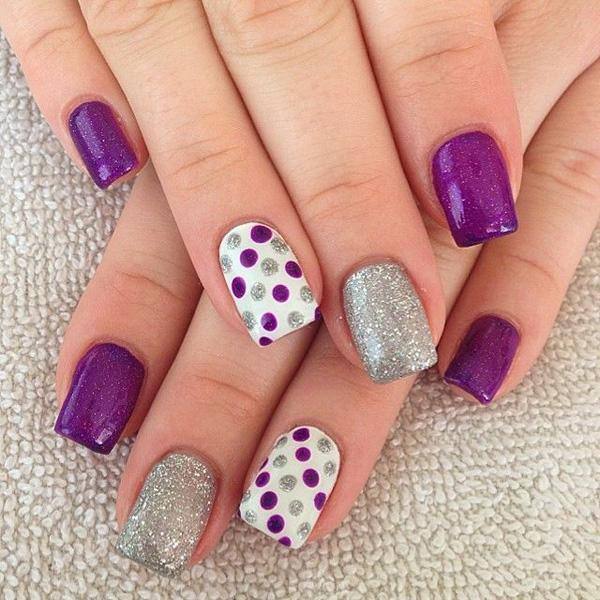 gelnails in purple, silver and white