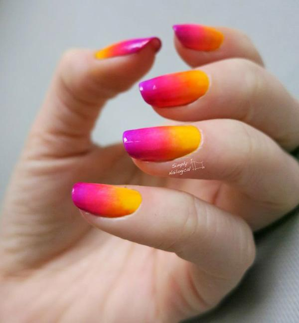 simplynailogical neon gradient nail art  yellow  orange  pink red and purple