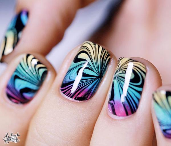 35 water marble nail art designs art and design make your gradient nails perfect by adding water marble nail art designs using black polish and prinsesfo Gallery