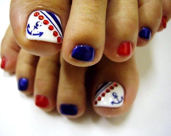 Anchor, Sailor pedi toe nail design