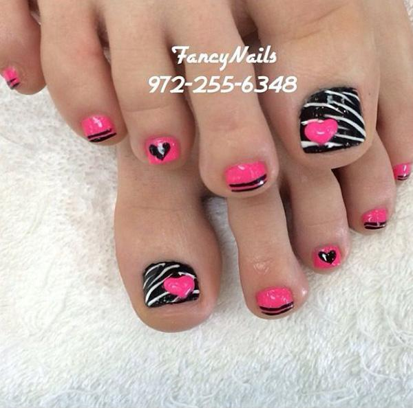Black  Pink   White  Zebra stripes  Hearts  Toe nail designs