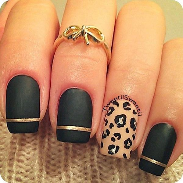 Black and Leopard Metallic Manicures
