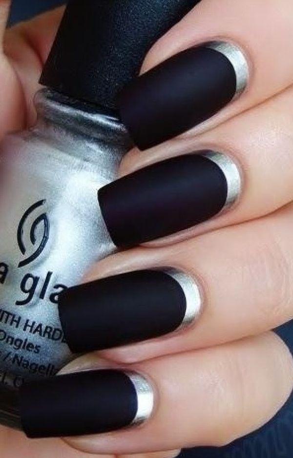 Black metallic manicures