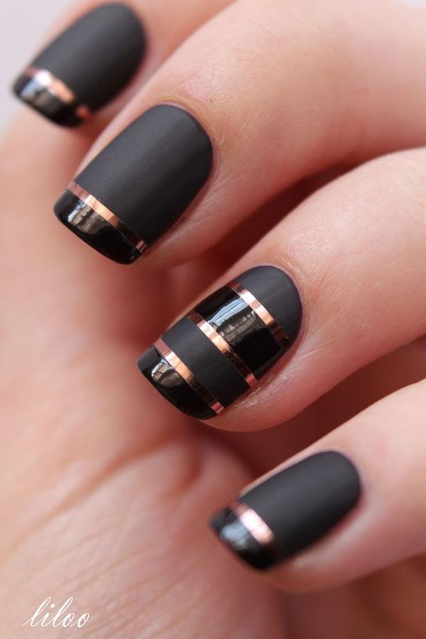 Black with gold stripe