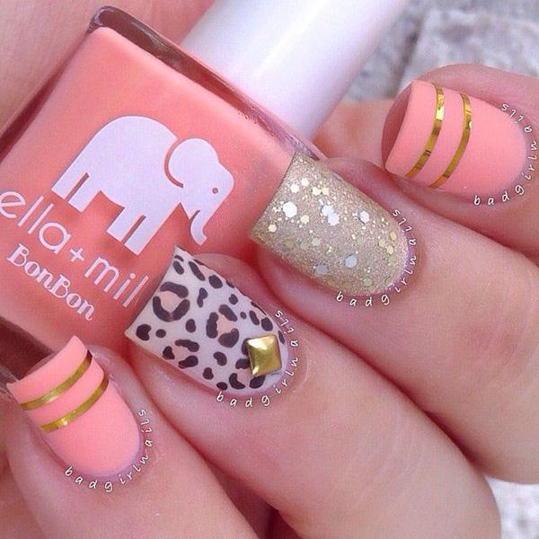 Cute Leopard and Pink Metallic  Nail