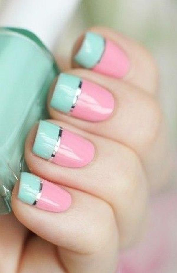 Green and Pink Metallic Manicures