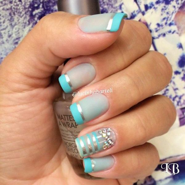 Ocean Blue+Gray Metallic  Nail