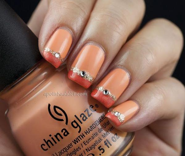 Orange Metallic Manicures