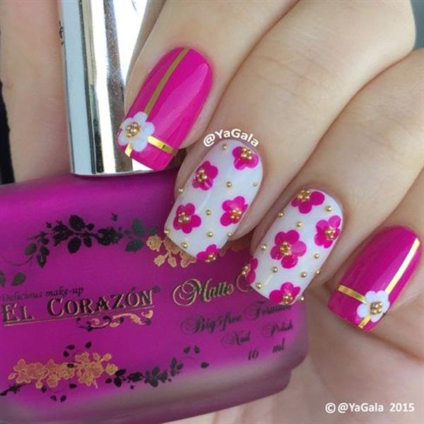 Pink Flower Metallic Manicures