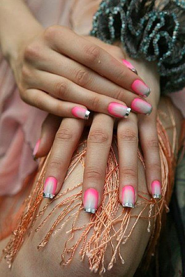 Pink and nude color gradient french metallic manicures