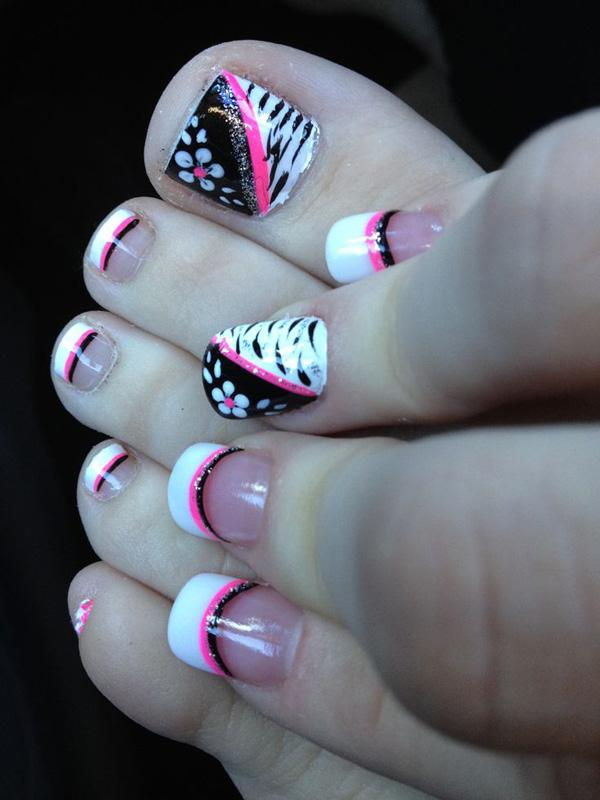 Pink black and white flower zebra toe nail design - 50 Pretty Toenail Art  Designs ... - 50 Pretty Toenail Art Designs Art And Design