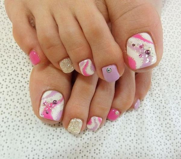 a very cute and fun looking toenail art design a series of matte white