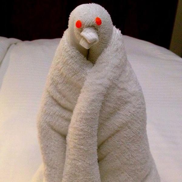 Towel origami penguin