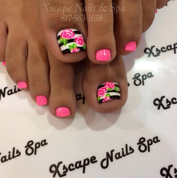 A Beautiful Rose And Stripe Inspired Toenail Art Design The Smaller Nails Are Coated In