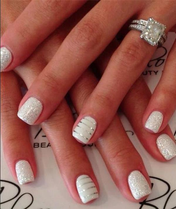 White Metallic Manicures for Wedding