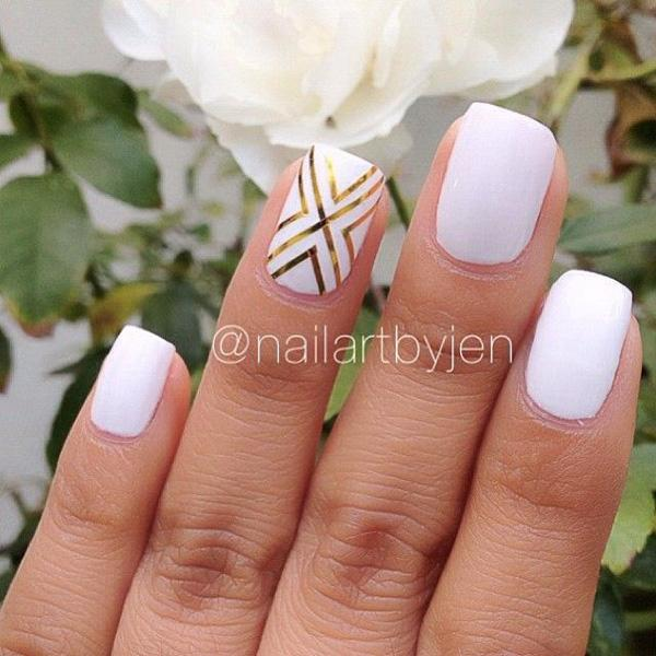 55 gorgeous metallic nail art designs art and design create your own shapes using a metallic gold foil on your white matte nails prinsesfo Choice Image