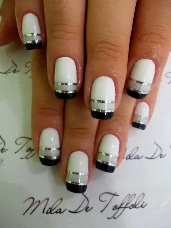 White and Black  Metallic Manicures