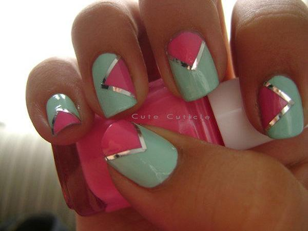 55 gorgeous metallic nail art designs art and design a playful nail art design making use of a sea green and pink color combination divided prinsesfo Gallery