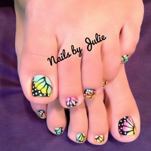 butterfly toenail art