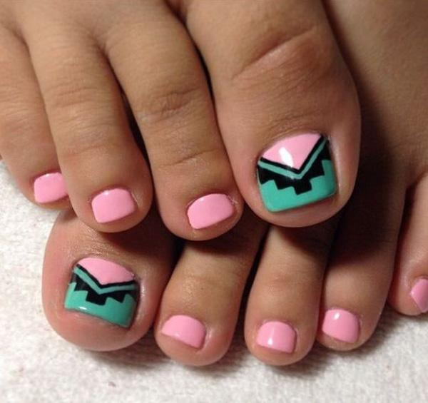 Pink, green and black tribal inspired toenail art design, this design is  very simple ... - 50 Pretty Toenail Art Designs Art And Design
