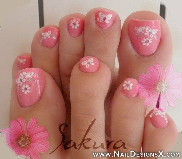 Pink toenail art design with daisy flowers and cute butterflies ... - 50 Pretty Toenail Art Designs Art And Design