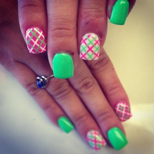 diagonal plaid nail art