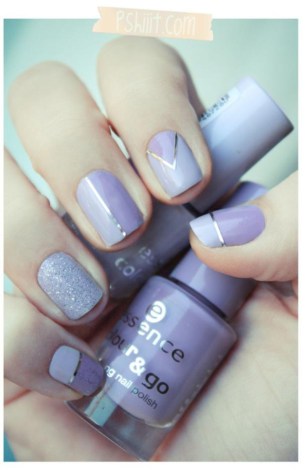 lavender color metallic manicures