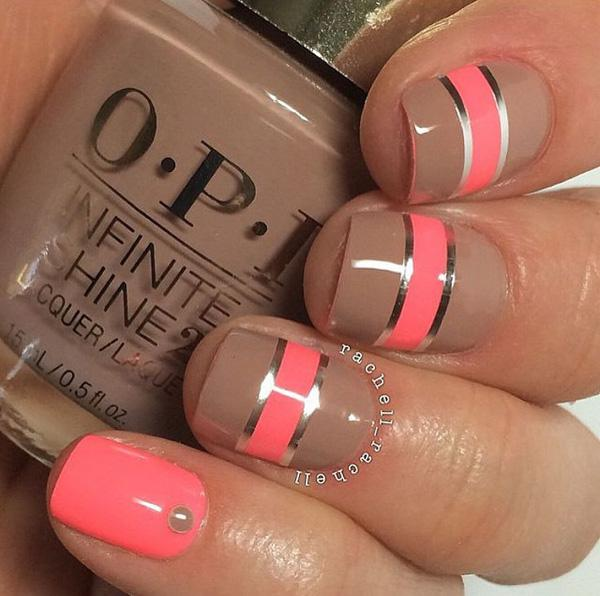 orange & taupe gold stripe nail