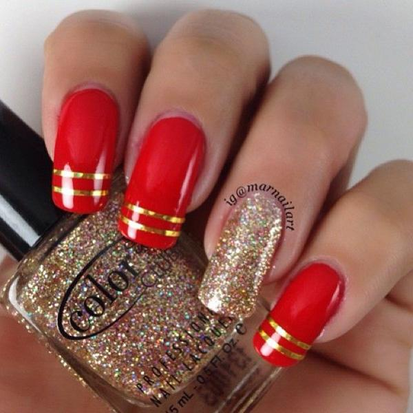 red + gold accents