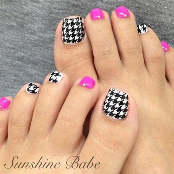 50 pretty toenail art designs art and design a quirky looking checkered inspired toenail art design colors used on this design are fuchsia prinsesfo Images