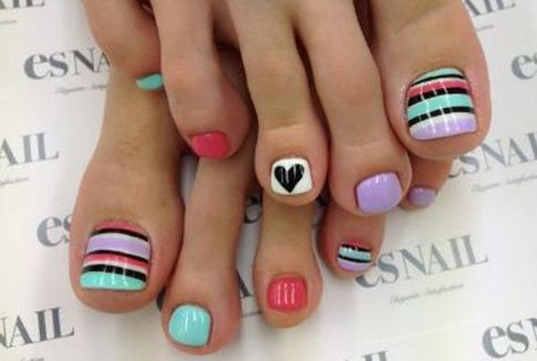 another fun and trendy looking toenail art design this design is a mixture of bold