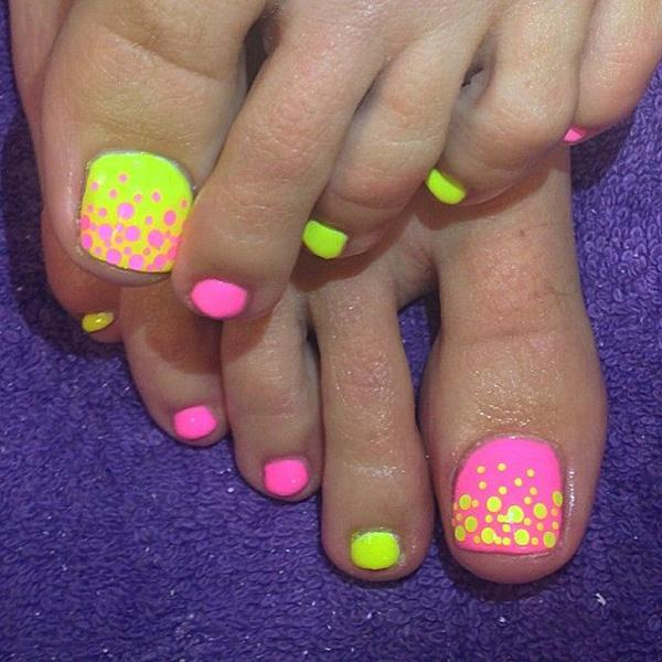bubble themed toenail art design you can use neon pink and neon colors for this
