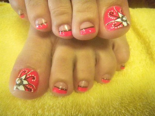Adorable Pink Flower Inspired French Tip Toenail Art Use A Salmon Polish For The