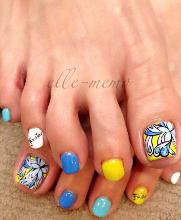 50 pretty toenail art designs art and design a fun looking and colorful toenail art design make use of blue yellow prinsesfo Image collections