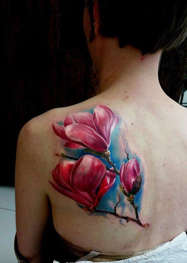 3D Colorful Magnolia Tattoo