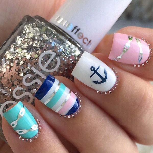 Anchors away with this blue, white, sky blue and baby pink ensemble with amazing silver polish details added on top.
