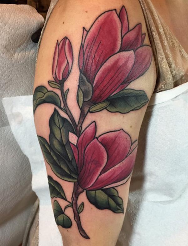 Beautiful magnolia tattoo