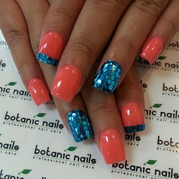 Blue glitter nail-8