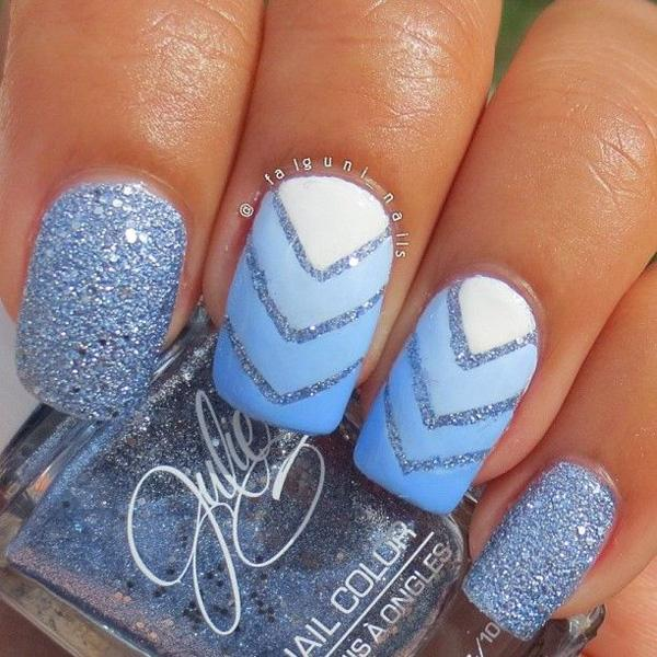 60 glitter nail art designs art and design blue glitter nail art design with v shaped details and a gradient inspired nail art prinsesfo Images