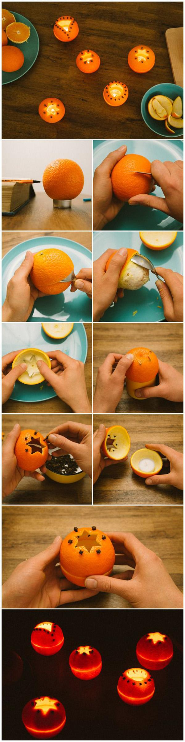 DIY candle holders made from oranges