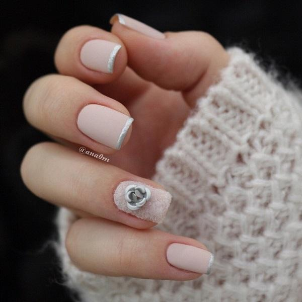 Simple yet classic French tip of nude and silver polish finished with a  silver fall flower ... - 55 Seasonal Fall Nail Art Designs Art And Design