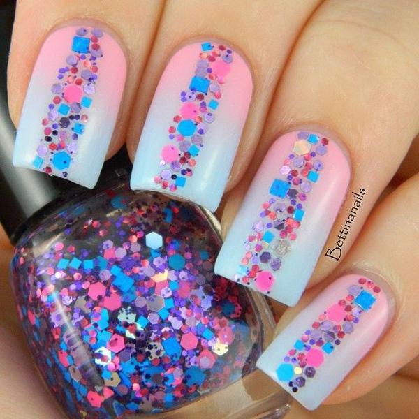 Gradient glitter nail-1
