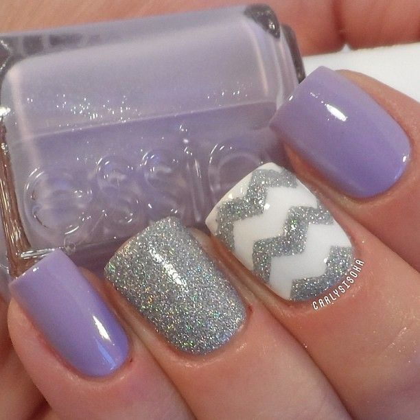 A cute periwinkle and white color combination with silver dust for matte  and details. - 55 Seasonal Fall Nail Art Designs Art And Design