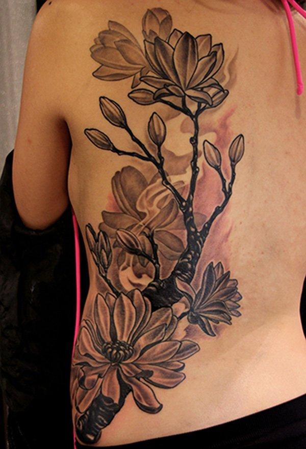Magnolia black and white tattoo