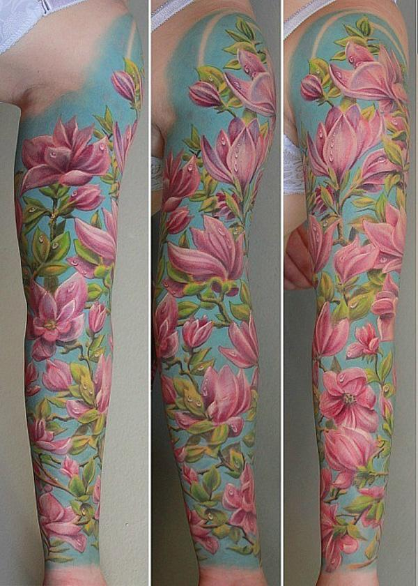 Magnolia full sleeve tattoo