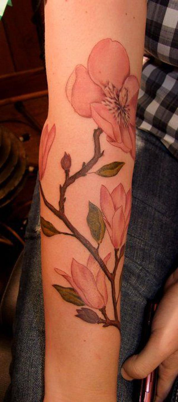 Magnolia sleeve tattoo.