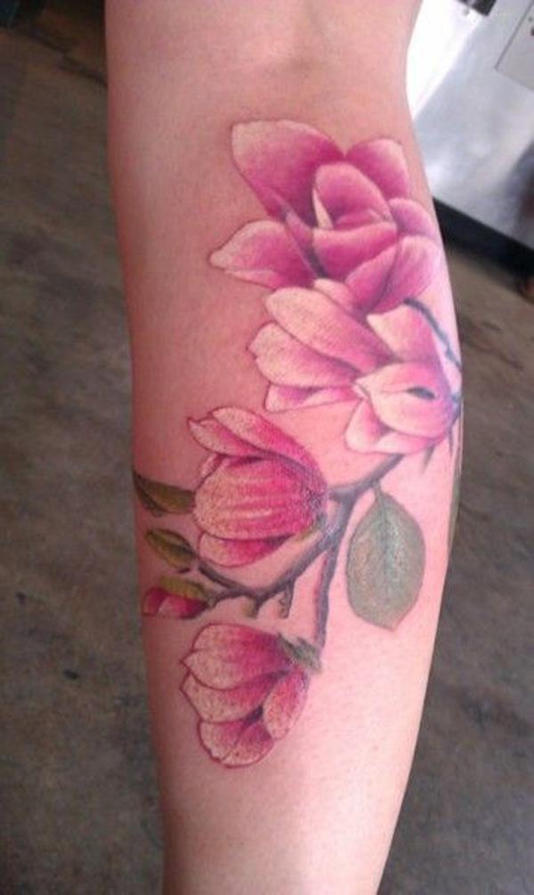 Magnolia watercolor tattoo.