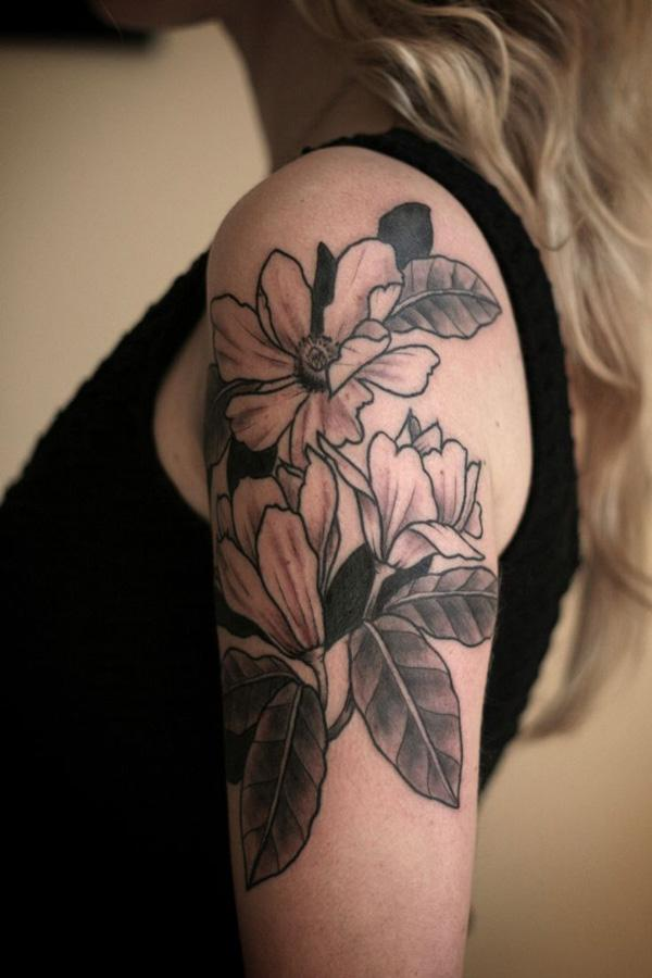 Magnolias shouder tattoo