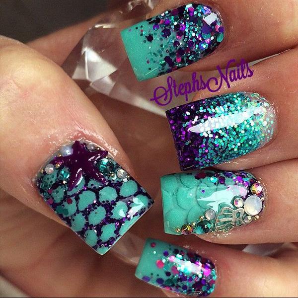 Marine style glitter nail-5