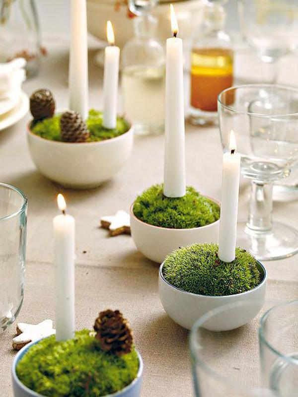 Moss & candle centerpieces